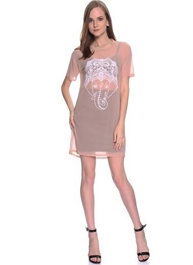 Missguided Transparan Detaylı Mini Elbise Ten